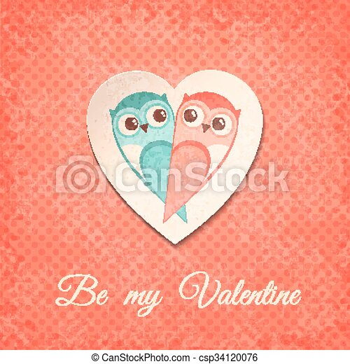 Valentine Card with Owls. Vector illustration, eps10. - csp34120076