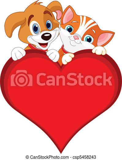 Valentine Cat and dog sign - csp5458243