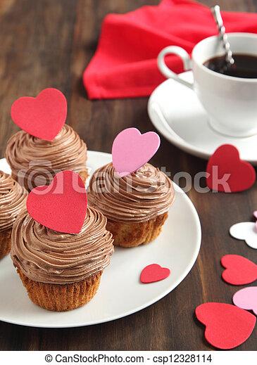 valentine, chocolate, cupcake - csp12328114