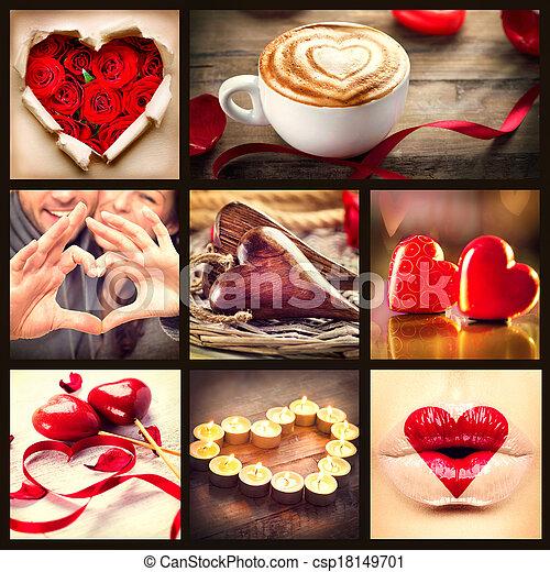 Schön Valentine Collage. Valentines Day Hearts Art Design Stock Photo