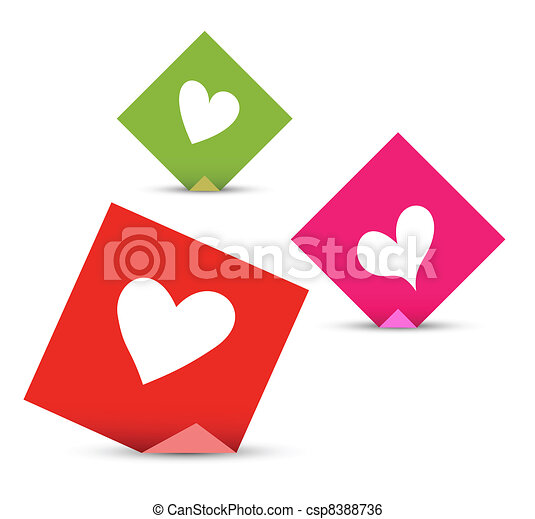 Valentine concept vector papers with hearts. Love sticky notes set - csp8388736