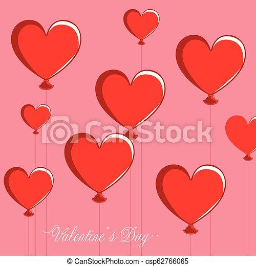 valentine, coração, grupo, dado forma, ar, balloons., dia - csp62766065
