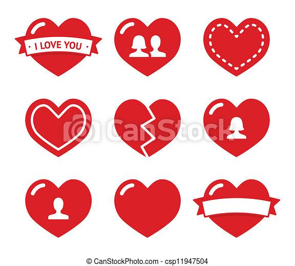 Los iconos de los corazones de amor para Valentine - csp11947504