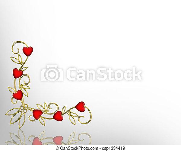 3d valentine corner design for card or background with gold filigree ...