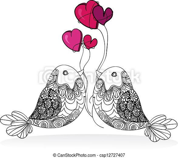 Valentine couple bird love isolated - csp12727407
