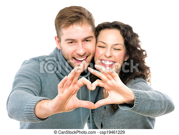 Valentine couple isolated on white background - csp19461229