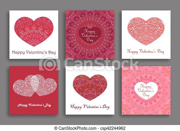 Clip Art Line Of Hearts : Valentine day cards set different hearts clip