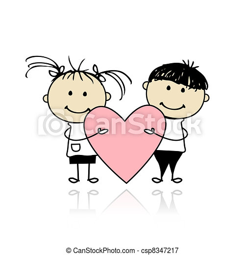 Valentine day. Children with big red heart for your design - csp8347217