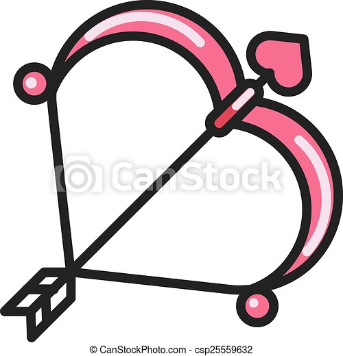 valentine day cupid bow and arrow flat icon valentine day cupid bow rh canstockphoto com