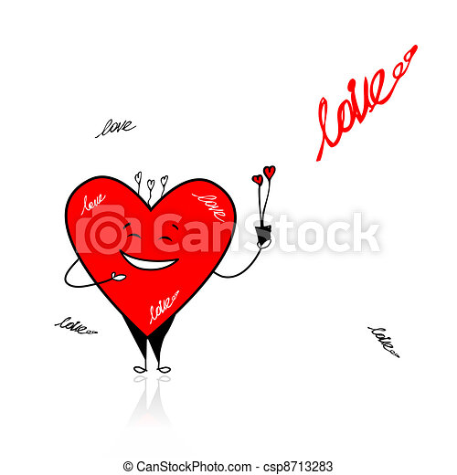Valentine day. Funny heart with bouquet for your design - csp8713283