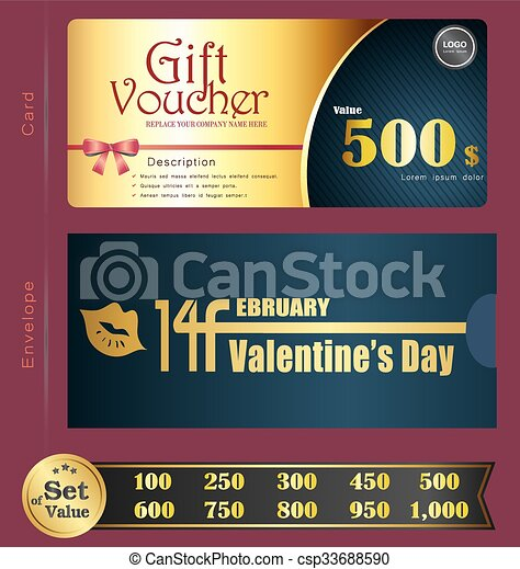 Valentine Day Gift Voucher Template With Premium Pattern And