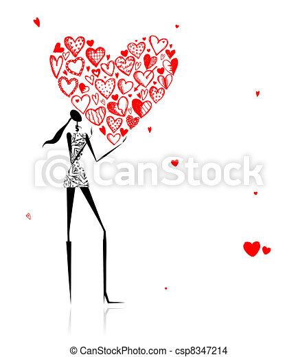 Valentine day. Girl with big red heart - csp8347214