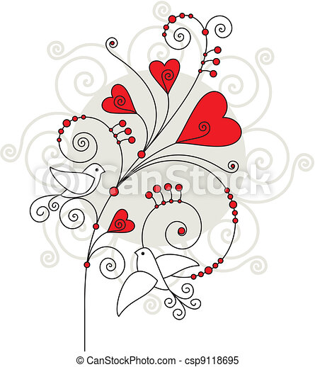 Elegant Vector Valentine Day Greeting Card
