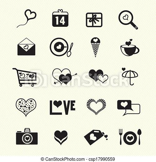 Valentine day love icons - csp17990559