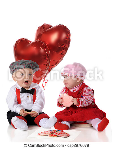 Valentine Day Snacks A Baby Girl And Boy Dressed For A Big Date