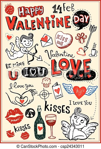 Valentine doodles - csp24343011