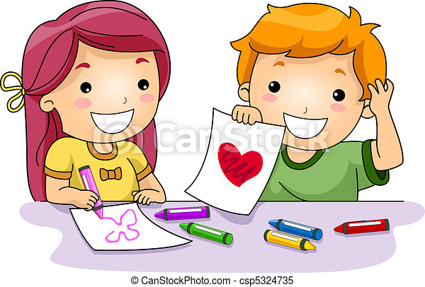 valentine drawings illustration of kids drawing stock rh canstockphoto com clipart drawings free clipart drawings disco dancing