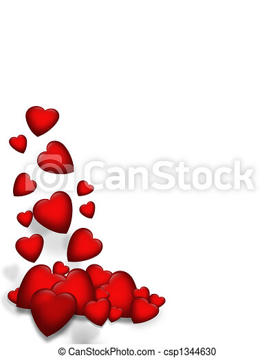 Valentine Falling Hearts border - csp1344630