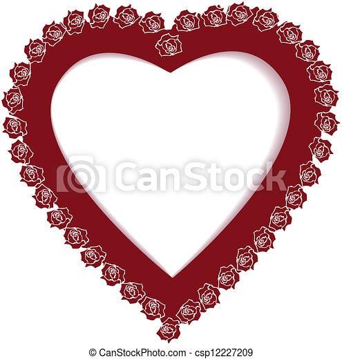 Valentine frame. Valentine vector frame with rose and heart.