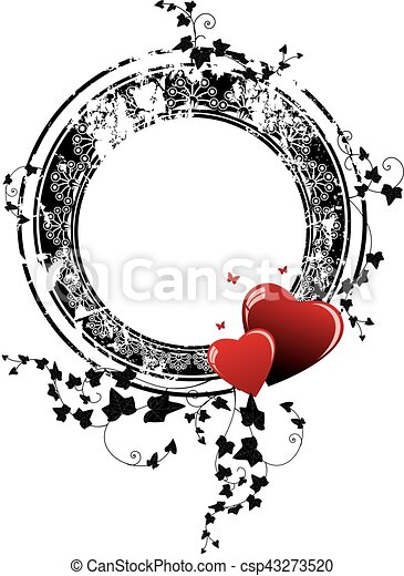 valentine frame with hearts and ivy - csp43273520