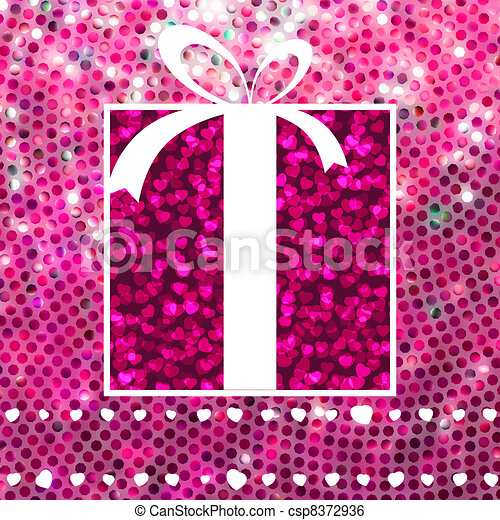 Valentine Gift over glitter mosaic. EPS 8 - csp8372936