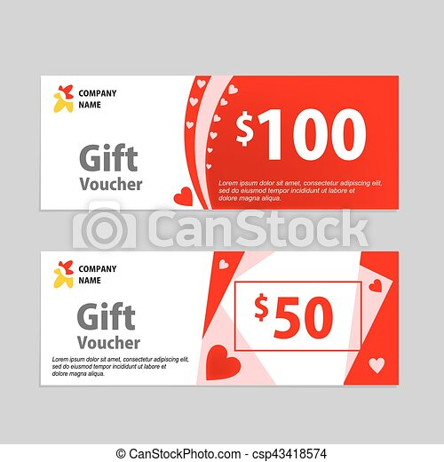 Valentine gift voucher card template design concept for vectors valentine gift voucher card template design csp43418574 yelopaper Images