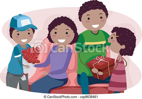 Line Art Valentine : Valentine gifts. illustration of kids giving their parents vector