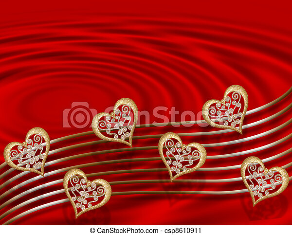 Valentine Gold hearts on red  - csp8610911