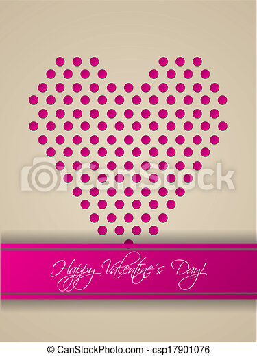 Valentine Greeting Card Design With Heart Shaped From Dots