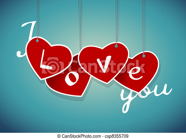 Valentine hanging labels. Vector art  - csp8355709