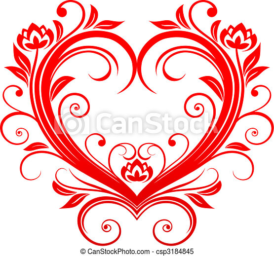 Red valentine heart in floral style for design clipart vector ...