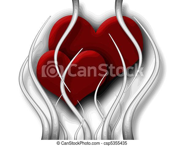 Line Art Valentine : Valentine heart. two harts in prison of love clipart vector search