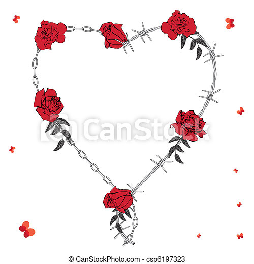 Valentine heart. Valentine background with heart, roses, chain and ...