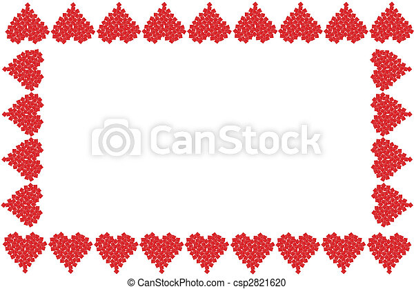 Valentine heart frame or border. Gift boxes in the shape of red ...