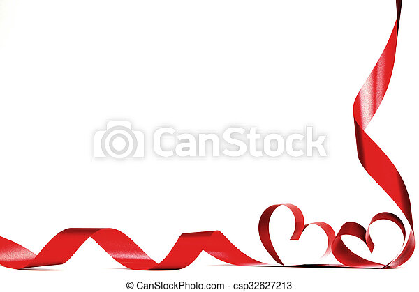 Valentine heart frame. Valentines day frmae made of red ribbon ...