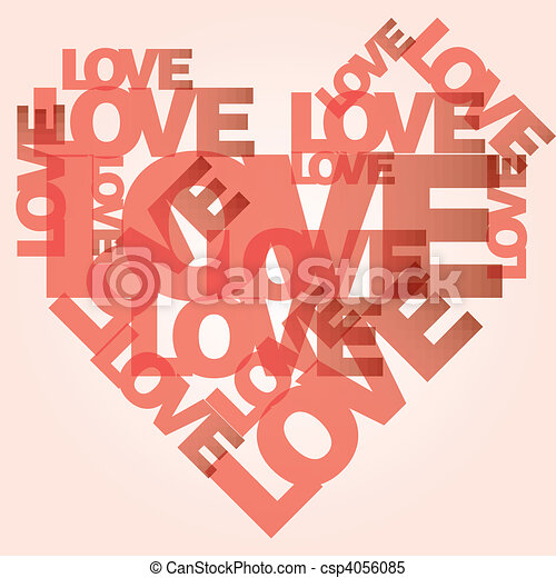 Valentine heart from love words  - csp4056085