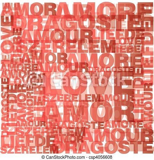 Valentine heart from love words  - csp4056608
