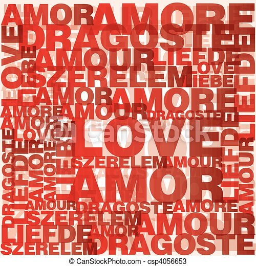 Valentine heart from love words  - csp4056653
