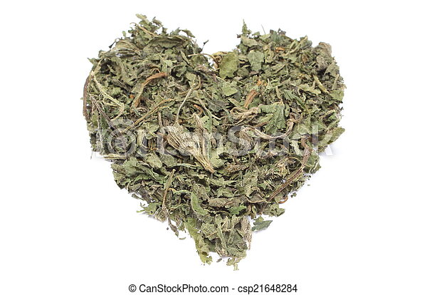 Valentine heart of dried nettle on white background - csp21648284