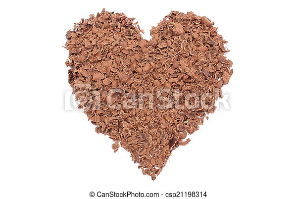 Valentine heart of grated chocolate on white background - csp21198314