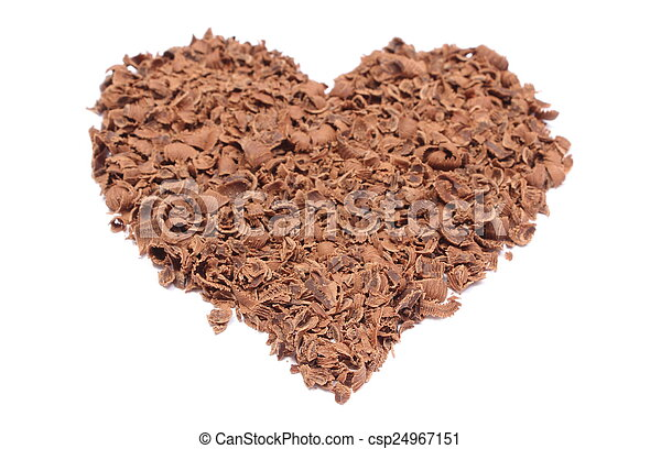 Valentine heart of grated chocolate on white background - csp24967151