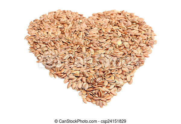 Valentine heart of linseed on white background - csp24151829