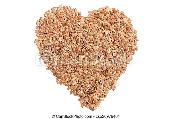 Valentine heart of linseed on white background - csp20979404