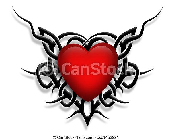 Valentine Heart Tattoo Design Stock Illustration
