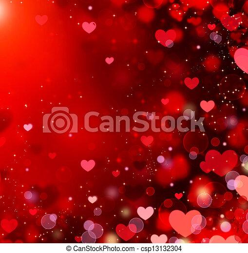 Valentine Hearts Abstract Red Background. St.Valentine's Day  - csp13132304
