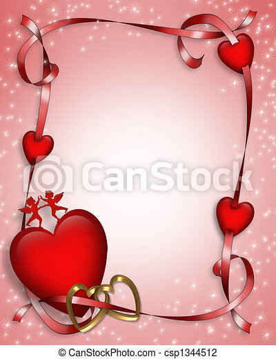 Valentine hearts and ribbons 3d . 3d valentine card. border ...