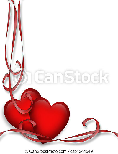 Valentine Hearts and Ribbons Border - csp1344549