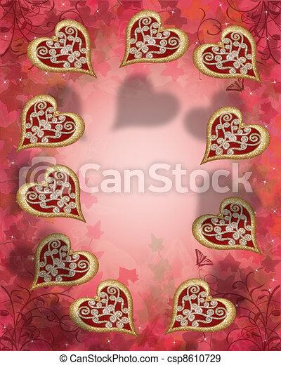 Valentine hearts border - csp8610729