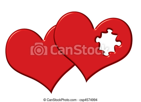 Clip Art Line Of Hearts : Valentine hearts with missing puzzle piece different