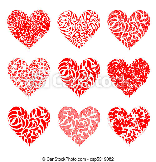 Valentine hearts red for your design - csp5319082